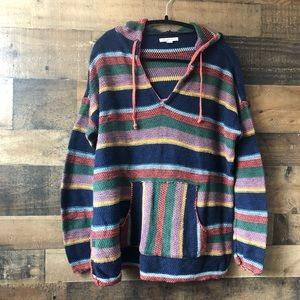 American Eagle Multicolor Striped Knit Hoodie